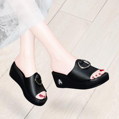 古奇天倫 夏季露趾坡跟拖鞋女新款一字式純色鞋子女涼拖鞋 GQ/9539