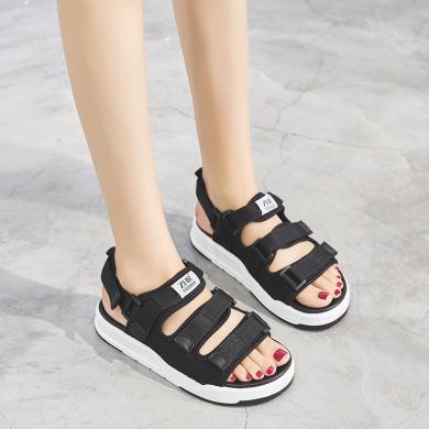 ZHR厚底涼鞋女新款夏港風輕便增高休閑運動沙灘鞋女海邊學生