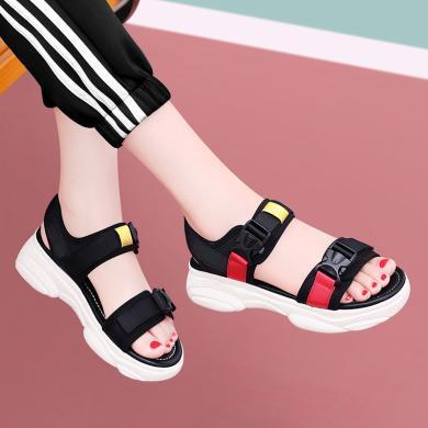 古奇天倫 夏季新款露趾松糕底女士涼鞋魔術貼拼色鞋子 GQ/9469