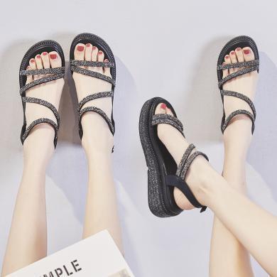 ZHR涼鞋女新款夏輕便一字帶時尚水鉆ins潮增高羅馬鞋厚底學生