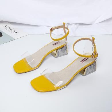 ZHR夏新款女士鞋子粗跟凉鞋时尚简约百搭透明一字带中跟鞋子