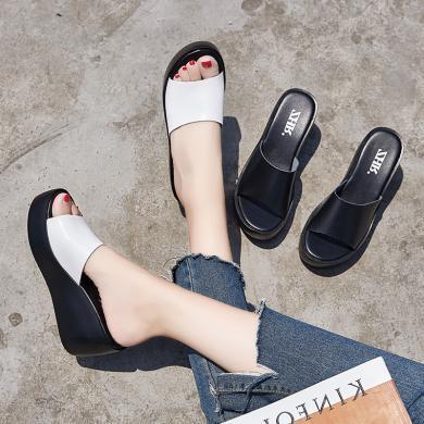 ZHR夏季新款高跟拖鞋时尚外穿坡跟凉拖厚底一字拖韩版女鞋子
