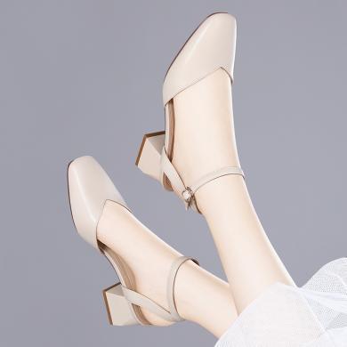 金絲兔金絲兔夏季新款時尚方頭一字扣單鞋女中跟包頭單鞋粗跟涼鞋女