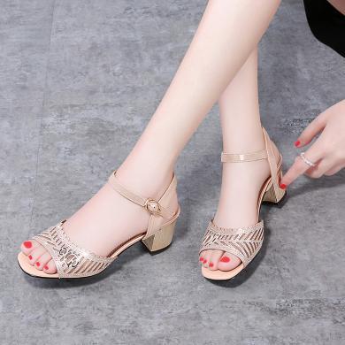 古奇天倫 夏季新款露趾粗跟女涼鞋一字式扣帶燙鉆魚嘴涼鞋女 GQ/9441