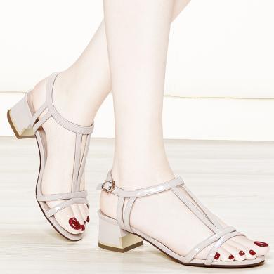 金?#23458;?#24615;感方跟一字扣凉鞋女新款韩版百搭粗跟夏季简约时尚高跟女鞋