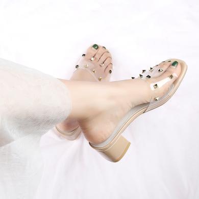 ZHR夏新款拖鞋女外穿韓版粗跟鉚釘中跟配裙子的鞋透明涼拖鞋