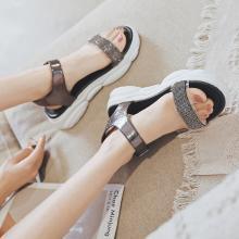 阿么時尚水鉆涼鞋女2019夏季新款超火網紅韓版透明松糕厚底羅馬鞋