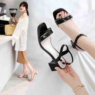 阿么涼鞋女2019夏季新款簡約百搭網紅一字帶中跟粗跟時尚夏季女鞋