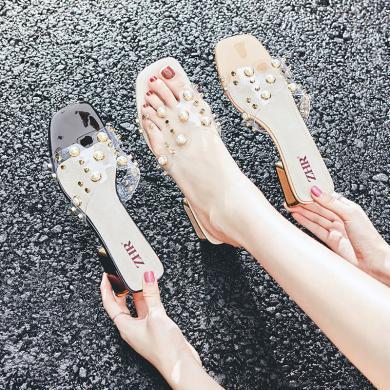 ZHR涼拖新款夏季粗跟配裙子的鞋透明H拖鞋仙女風水晶帶鉆高跟