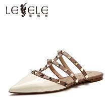 萊思麗女鞋夏季新款漆皮鉚釘涼拖女包尖頭平底穆勒拖鞋女涼拖KE91-LB6728