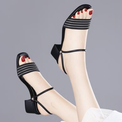 金絲兔時尚高跟韓版涼鞋夏季外穿新款方跟兩穿露趾百搭涼拖鞋女鞋子