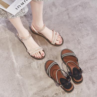 ZHR女生流行凉鞋新款夏时尚坡跟水钻仙女风搭半身裙的鞋平底