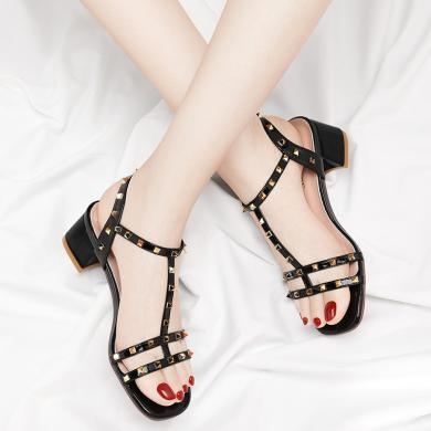 金?#23458;?#38889;版时尚高跟一字扣凉鞋女夏季新款性感百搭方跟露趾女鞋子潮