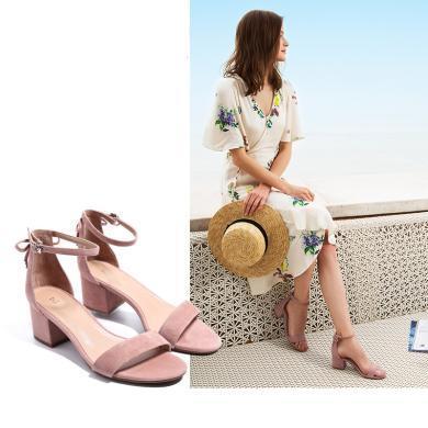 百田森 PYQD8332新款一字扣涼鞋女粗跟夏中跟韓版鞋子