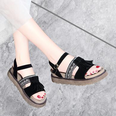 古奇天倫 新款露趾平底涼鞋女夏季涼鞋流蘇裝飾一字式扣帶鞋子女 GQ/9529