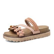 公猴拖鞋女夏外穿時尚涼拖厚底松糕沙灘網紅涼鞋新款平底花朵