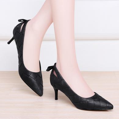 百年紀念  尖頭細跟中跟低幫鞋套腳涼鞋時尚女鞋尖頭細跟中跟女鞋涼鞋bn1436-1