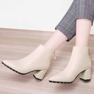 百年紀念  尖頭粗跟女短靴后拉鏈純色時裝靴防水臺女鞋子bn2007