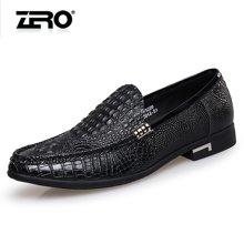 Zero零度正装皮鞋男真皮商务休闲皮鞋鳄鱼纹英伦皮鞋德比鞋男鞋