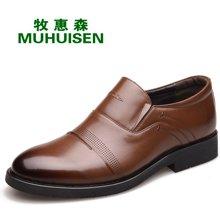 牧惠森新款头层牛皮男士套脚皮鞋镂空擦色时尚商务正装休闲男鞋 HM0905