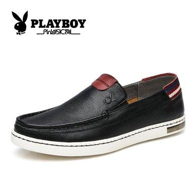 花花公子男鞋樂福鞋秋季鞋子英倫休閑皮鞋男士軟面懶人鞋CX39011