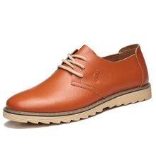 俊斯特 男士牛皮圆头系带休闲鞋舒适透气耐磨男单鞋子