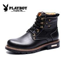 花花公子男靴秋冬季男士马丁靴真皮短靴高帮工装鞋英伦潮靴子CX39362