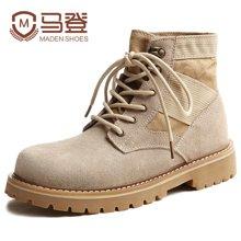 马登反绒皮军靴时尚圆头马丁靴男靴子男士靴子作战靴工装鞋子 1703018