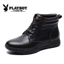花花公子男鞋冬季高帮休闲皮鞋男士真皮休闲鞋板鞋青年英伦短靴潮CX39377