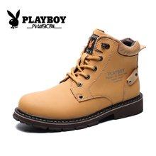 花花公子男鞋秋季大黄靴英伦高帮工装鞋真皮靴子短靴男士马丁靴CX39382