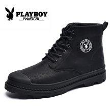花花公子冬季馬丁靴男加絨保暖高幫鞋韓版潮流靴子男士棉鞋馬丁鞋CX39389M