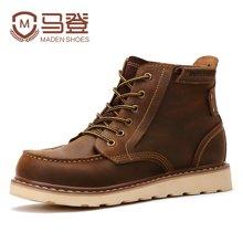 马登男士军靴皮靴子中筒靴工装靴英伦潮流男靴子男鞋潮 1407016