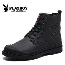 花花公子男士高帮休闲鞋男英伦风复古潮流工装靴子户外真皮马丁靴CX39388