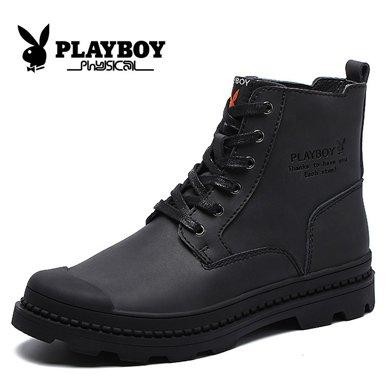 花花公子男士高幫休閑鞋男英倫風復古潮流工裝靴子戶外真皮馬丁靴CX39388