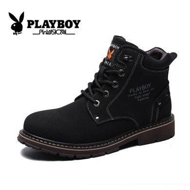 花花公子男鞋秋季大黃靴英倫高幫工裝鞋真皮靴子短靴男士馬丁靴CX39382