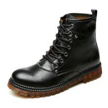 公牛世家时尚男靴马丁靴加绒保暖棉鞋英伦皮靴子高帮军靴潮短靴 8884821