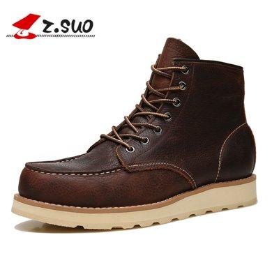 Z.Suo/走索男鞋工裝靴男男士短靴英倫馬丁靴男軍靴皮靴子潮流鞋子 ZS18118
