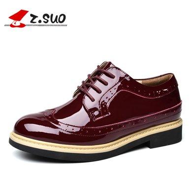 Z.Suo/走索女鞋布洛克鞋女士休閑鞋平跟馬丁鞋牛津鞋女 18008N