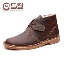 马登马丁靴男靴子男士加绒皮靴高帮英伦雪地短靴工装沙漠靴男鞋 1407029