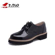 Z.Suo/走索女鞋马丁鞋女低帮鞋系带休闲皮鞋女单鞋潮 ZS18202N