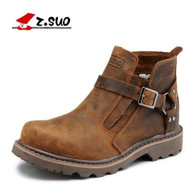 Z.Suo/走索情侶靴搭扣沙漠靴英倫男靴馬丁靴潮復古工裝男鞋 ZS337