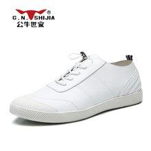 公牛世家男鞋百搭休闲皮鞋韩版青年系带板鞋软底潮鞋 888416