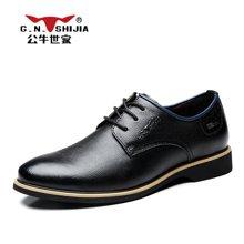 公牛世家时尚百搭男鞋商务休闲鞋男士皮鞋男青年系带潮鞋 888390
