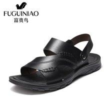 富贵鸟男鞋 头层牛皮男凉鞋灵活两用后跟带平底沙滩鞋 C794265