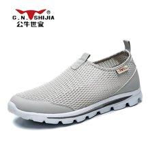 公牛世家男鞋网鞋男士运动鞋透气套脚休闲鞋网面鞋男潮鞋子 888411