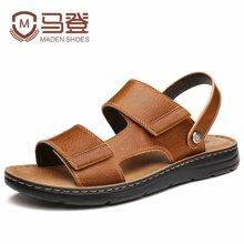 马登男士凉鞋夏季皮凉鞋男休闲鞋韩版青年沙滩鞋凉鞋男潮 1701170