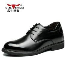 公牛世家男鞋时尚商务正装皮鞋男士增高鞋英伦系带潮鞋子 888353