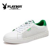 花花公子男鞋夏季运动休闲鞋男透气白色板鞋小白韩版潮流鞋子CX39286K