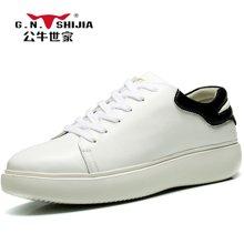 公牛世家男鞋皮鞋子休闲板鞋男韩版松糕底小白鞋男士休闲鞋子 888342