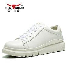 公牛世家男鞋运动休闲鞋板鞋圆头系带跑步鞋皮鞋韩版潮流小白鞋子 888344